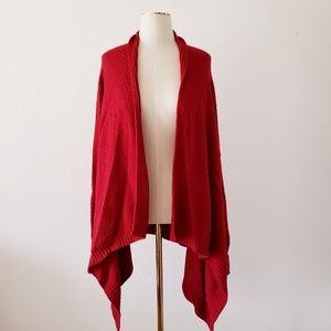 TALBOTS Large Red Asymmetrical ChunkyOpen Cardigan
